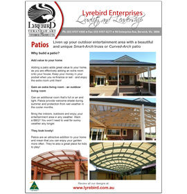 Download Lyrebird Enterprises Patios and Pergolas Brochure