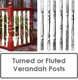Turned Verandah Posts for Fluted Verandah Posts