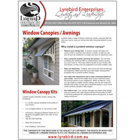 Download Lyrebird Enterprises Window Canopy or Window Awning Kit and Door Canopy Kit Brochure